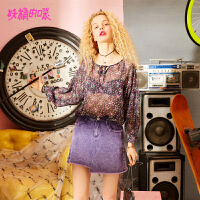 【秒杀价:81】【再享满299减40券】妖精的口袋紫色雪纺衫新款chic系带上衣碎花长袖衬衫女