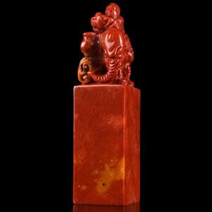 篆刻印章《鸡血红太平有象正方章》寿山石取巧全手工精雕寓意吉祥适合创作篆刻