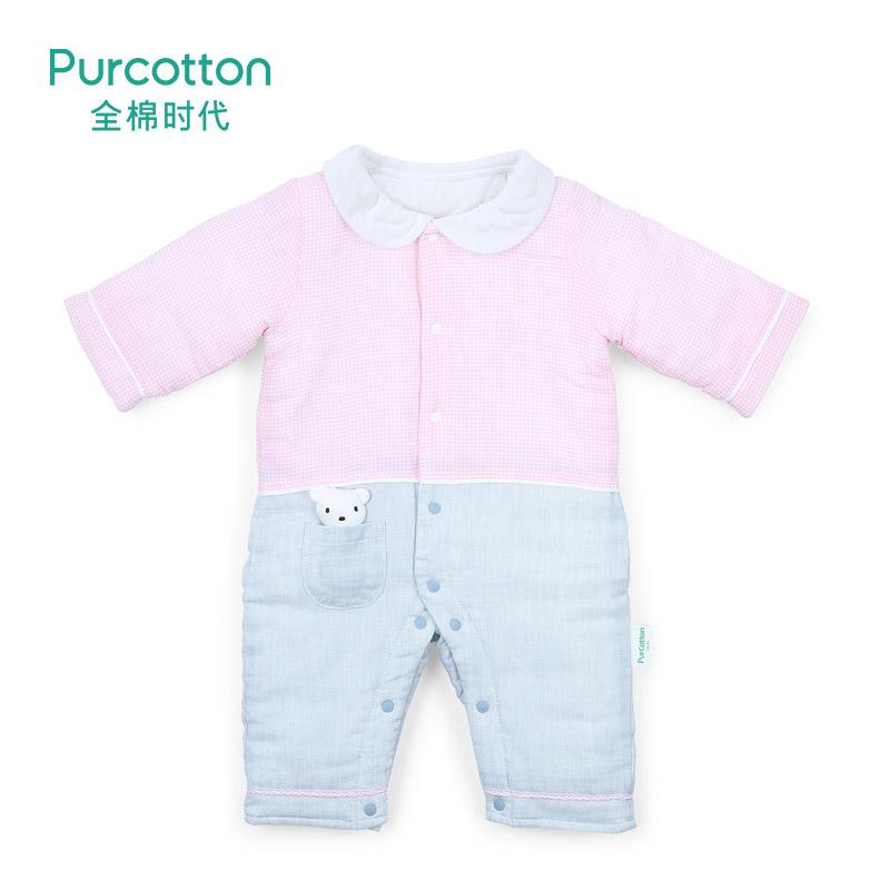 全棉时代 蓝白格专用婴儿纱布翻领假两件连体服(厚款)66/44, 1件/装