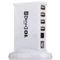 赛勒普 SLP-HUB10 USB分线器 HUB转换器集线器一拖十高速10口集线器HUB 白色 带电源适配器 可带动2