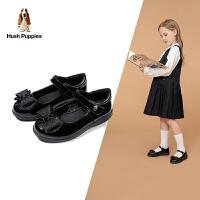 【券后�r:128.8元】暇步士Hush Puppies童鞋女童皮鞋2020秋季新品�和�皮鞋�底演出�Y�x鞋子黑色公主�W生鞋