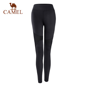 camel骆驼运动紧身拼网长裤 女微弹透气跑步瑜伽运动长裤