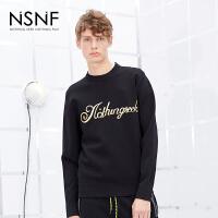 NSNF金色字母刺绣圆领套头男士黑色毛衣 2017秋冬新款