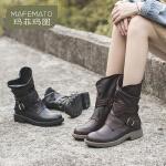 玛菲玛图马丁靴女靴子女2020秋冬复古羊皮粗跟中跟帅气中筒靴机车靴骑士靴57511-22