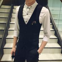 发型师KTV酒吧韩版西装小马甲男背心修身马夹坎肩潮男工作服 色
