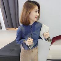 新款优雅修身女衬衫欧洲站女装2018春装新款欧货潮韩版时尚修身复古气质蓝色牛仔衬衫 蓝色