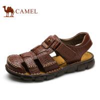 camel骆驼男鞋新款夏季 手工缝制 牛皮时尚休闲男士包头沙滩凉鞋