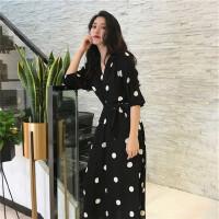 苏希莉2021夏季新款超仙度假法式长裙复古v领波点连衣裙PTT421