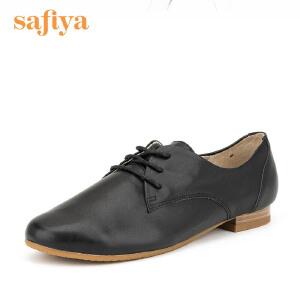 【3折到手价149.7元】Safiya/索菲娅春季新款牛皮圆头系带低跟单鞋女鞋SF61112047