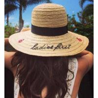 太阳图案字母 手工 拉菲 刺绣 草帽子  女 防晒遮阳大檐出游 沙滩   支持礼品卡