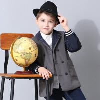小猪班纳童装儿童西服男秋冬男童毛呢外套2017新款中大童休闲上衣