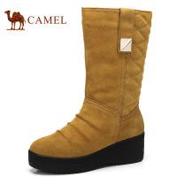 camel骆驼 女鞋 冬季新品 保暖绒里防水厚底坡跟中筒女靴子