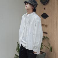 衬衫男学生韩风纯色廓形衬衫男士白色长袖衬衣潮流bf风防晒服薄
