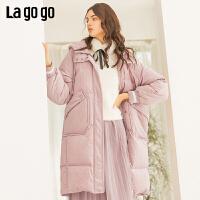 Lagogo2019冬季新款中长款宽松白鸭绒保暖外套纯色连帽羽绒服女