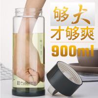 男士运动大号茶杯1000毫升杯子大容量便携耐热单层水杯玻璃杯