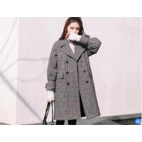 格子毛呢大衣少女中长款2018秋冬新韩版学生宽松加厚复古呢子外套d2075wu