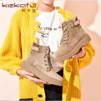 19冬珂卡芙新款【后跟魔术贴】潮流时尚短靴马丁靴英伦百搭女靴