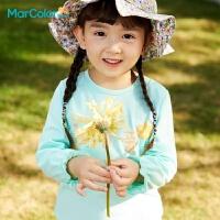 马卡乐童装2021春季新款女童优选全棉趣味设计长袖圆领T恤