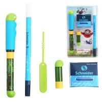 德国进口施耐德(Schneider)钢笔 BaseKid成长系列套装卡通蓝(F尖+改错笔1支+墨胆1盒+笔盒)签字笔水