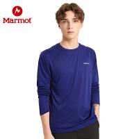Marmot/土拨鼠19秋冬新品男款T恤长袖速干T小LOGO舒适透气轻薄