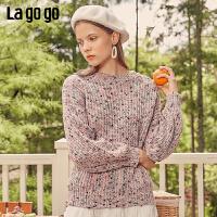 Lagogo/拉谷谷2019年秋季新款时尚甜美宽松长袖针织衫ICMM467G55