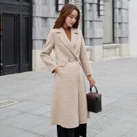 双面呢大衣女2018秋冬季新款羊毛呢子无羊绒修身毛呢外套中长款 淡卡其色格子