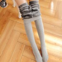 烟灰色加绒加厚一体打底裤女冬季新款高弹棉质平板修身显瘦保暖裤YX18DDKZH1604 均码
