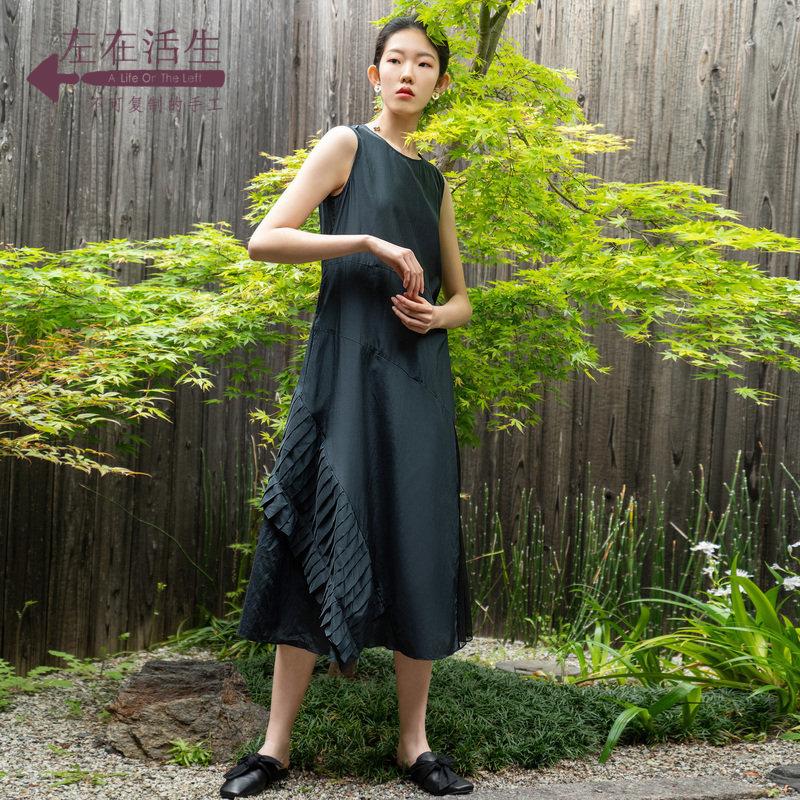 生活在左2019秋季女装新品黑色无袖连衣裙气质显瘦高贵中长款裙子