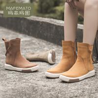 玛菲玛图马丁靴女英伦风靴子休娴运动短靴平底中跟厚底大黄靴机车靴骑士靴1811-10