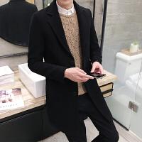 秋冬季男士毛呢大衣韩版修身中长款风衣男装呢子外套潮(新增加绒款)