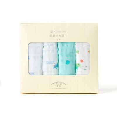 全棉时代 婴童4层纱布手帕34cm×25cm4件装