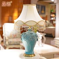 欧式台灯卧室床头手工陶瓷铜制创意简约现代客厅婚庆装饰灯具调光