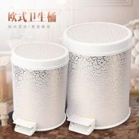欧式简约家用大小号脚踏带盖卫生桶创意塑料收纳桶金色垃圾桶