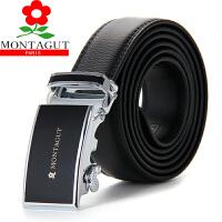 梦特娇 Montagut 男士商务休闲时尚整张牛皮腰带真皮外穿式自动扣皮带礼盒装 黑色