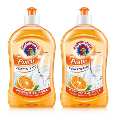 进口大公鸡头香橙浓缩去油不伤手洗洁精500ML*2低泡易漂净食品用 一滴见效 低泡无残留 温和不伤手