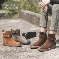 玛菲玛图英伦风女马丁靴2020新款春秋季平底单靴短筒真皮切尔西靴短靴女鞋3762-4