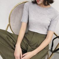 针织打底衫女秋冬新款短袖五分袖圆领修身短款套头弹力纯羊毛毛衣