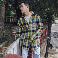 衬衫男学生2018秋季新款撞色纽扣格子印花长袖衬衫男士潮流宽松外套