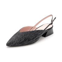 【限量秒杀】D:Fuse/迪芙斯秋包头凉鞋一字带马蹄跟低跟凉鞋DF83114879
