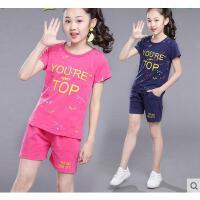 运动套装童装女童韩版时尚新款休闲百搭儿童10短袖9-11周岁12大童13女孩15