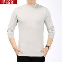 中年男士长袖T恤秋冬中老年人秋衣全棉薄款纯色圆领棉毛衫上衣男
