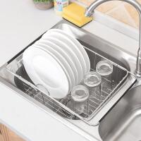 沥水篮 不锈钢洗菜盆伸缩果蔬水槽防滑漏水篮碗碟收纳洗菜篮厨房水槽直立卡槽沥水架