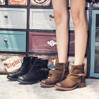 玛菲玛图马丁靴女2019秋新款潮流复古短靴牛皮粗跟短筒靴子侧拉链欧美单靴9198-11