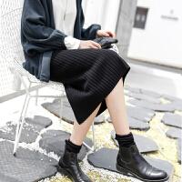 春季女韩国复古优雅中长款针织加厚羊毛半身裙简约开叉一步包臀裙