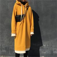 叠穿拼色假两件卫衣裙女冬季过膝长款卫衣宽松套头连帽加绒连衣裙
