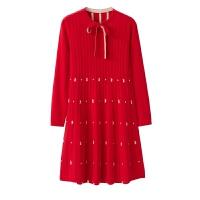 新款羊绒连衣裙女系带韩版宽松提花针织衫秋冬装外套 165/L 100