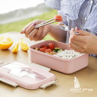 小麦保温饭盒带盖便当盒成人学生分格餐盒套装韩国创意可爱饭盒