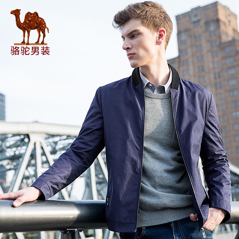骆驼男装 冬季新款无弹时尚都士男青年长袖棒球领夹克衫