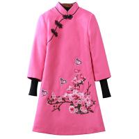 新年女装改良版旗袍冬款中式礼服端庄大气红色连衣裙女士唐装刺绣 粉色