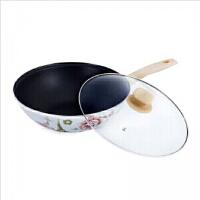 普润 搪瓷炒锅无油烟平底珐琅炒锅 电磁炉灶通用不粘锅30厘米